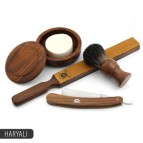 Classic Cut Throat Straight Shaving Razor,Brush,Shave soap with wooden bowl